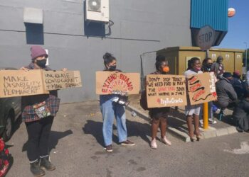 Activists Picket for Covid-19 Grant Extension - GroundUp, photo by Liezl Human