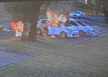 Mother and car set alight outside pre-school