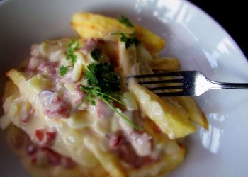 Fries Fully Loaded with a Cheesy Bacon White Sauce